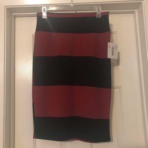Lularoe Cassie Skirt -Stripe Black Maroon -Medium